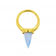 Hinged Ring With Long Opal Spike