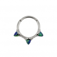 Hinged Ring With Three Small Opal Spikes