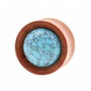 Stone Inlay Wood Plugs - Sawowood & Turquoise