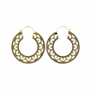 Brass Hoops - Dotted Flower