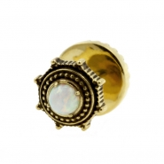 Brass Fake Plugs With Opal