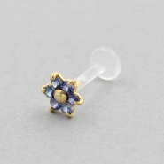 Bioplast Labret Stud - Gold And Sapphire Flower