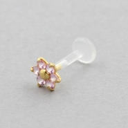 Bioplast Labret Stud - Gold And Pink Sapphire Flower