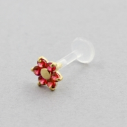 Bioplast Labret Stud - Gold And Ruby Flower