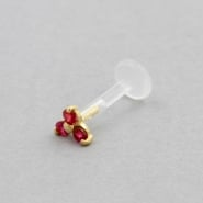 Bioplast Labret Stud - Gold And Ruby Trinity