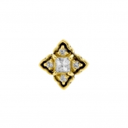 Gold Swarovski Zirconia Ornamental Square