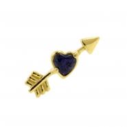 Gold Swarovski Topaz Cupid's Heart