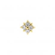 Gold Swarovski Zirconia Square Flower