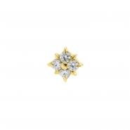 Gold Swarovski Zirconia Square Flower