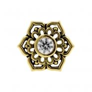 Gold Swarovski Zirconia Tribal Flower