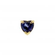 Gold Swarovski Blue Topaz Heart