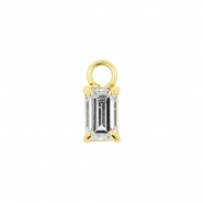 Gold Click Ring Charm - Zirconia Rectangle