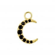 Gold Click Ring Charm - Zirconia Moon