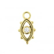 Gold Click Ring Charm - Zirconia Eye