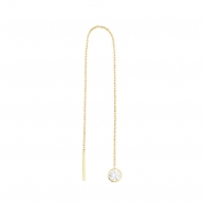 Gold Chain Earrings - Zirconia Round
