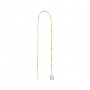 Gold Chain Earrings - Zirconia Teardrop