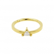 Gold Conch Clicker - Swarovski Zirconia Triangle