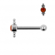 Titanium Opal Cluster Barbell
