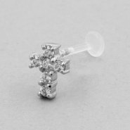 Jewelled Bioplast Labret - Swarovski Zirconia Cross 8,5mm