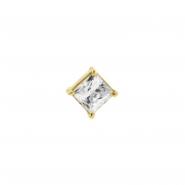 Gold Swarovski Zirconia Square - Threadless