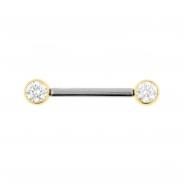 Nipple Barbell With Gold Zirconia Discs - Threadless
