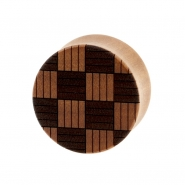 Weaved Squares Plugs  - Sawo Wood
