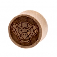 Teak Geometric Animal Plug - Monkey