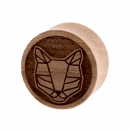 Teak Geometric Animal Plug - Cat